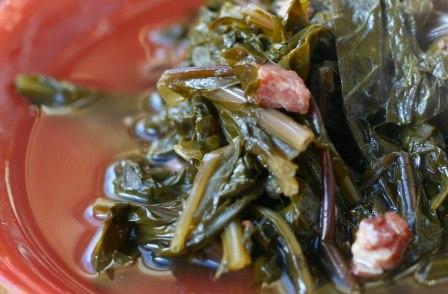 stewed dandelion greens ham
