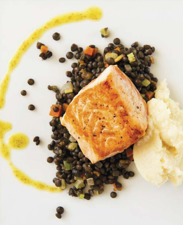 ... Roasted Salmon with Celeriac Puree, Lentils with Bacon, and Thyme