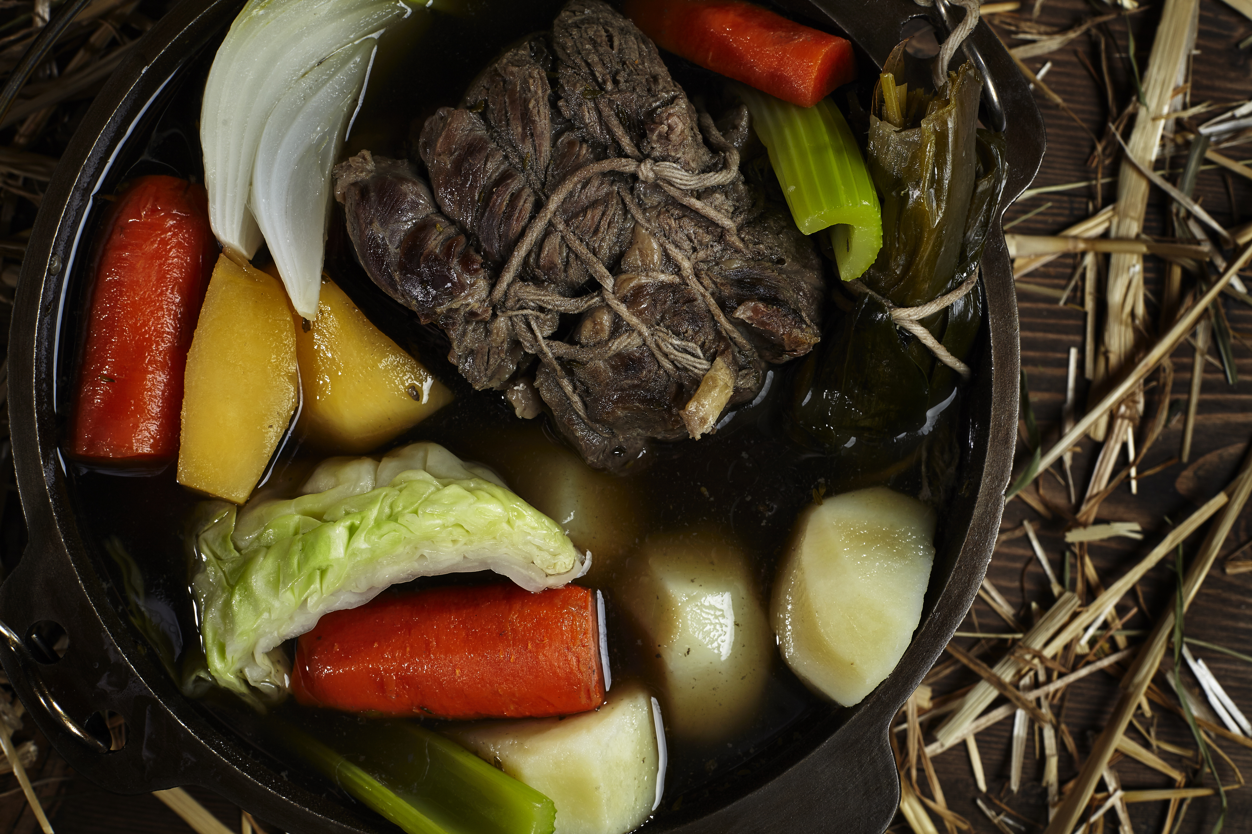Chef owner Thierry Rautereau prepares one of his favorite family recipes, Pot Au Feu, for Edible Seattle