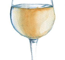 Three glasses of wine. red, white and rose wine. isolated. watercolor illustrations.
